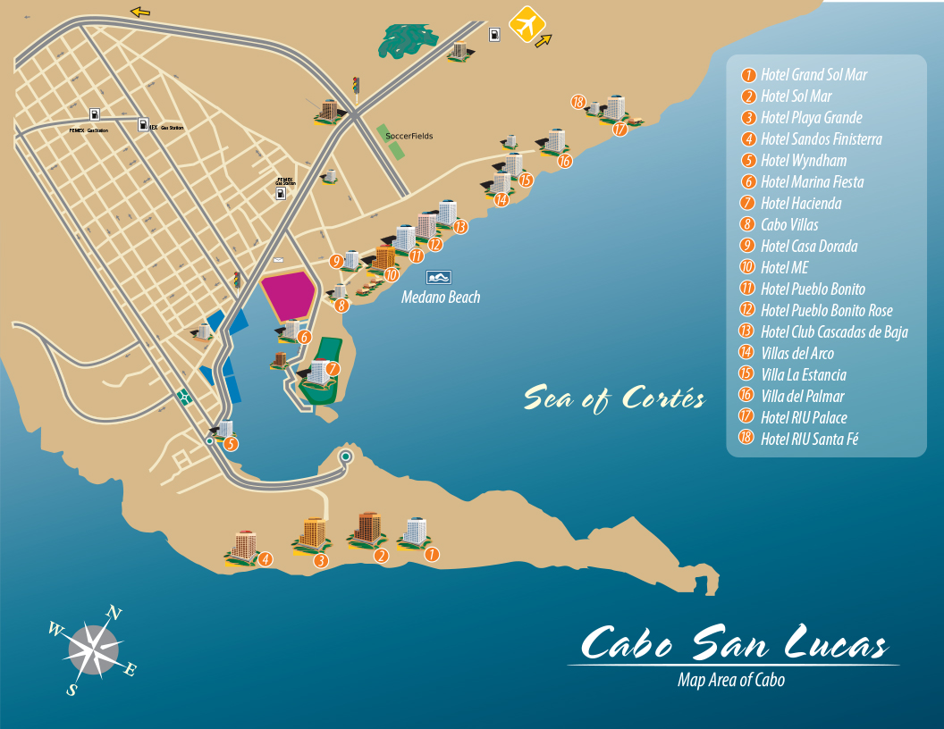 Cabo San Lucas, BCS, Mexico Map