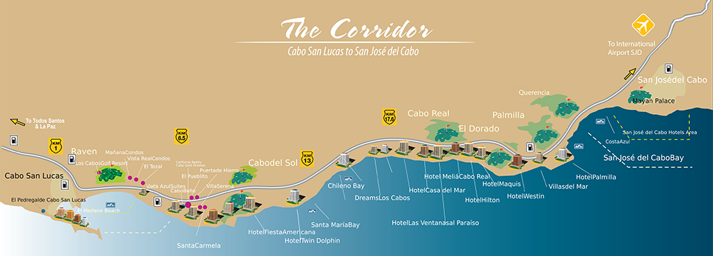 Map of The Corridor Cabo San Lucas to San Jose del Cabo